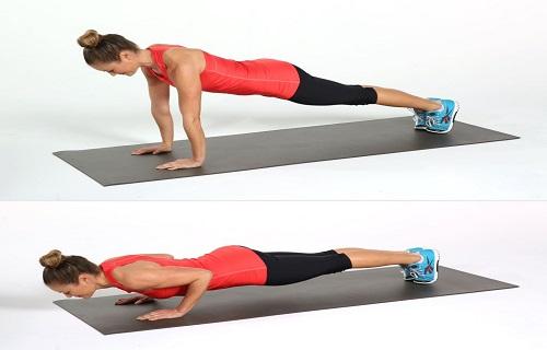 Hít đất là những bài tập thể dục buổi sáng giảm mỡ bụng